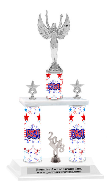 USA theme  2-Column trophy.  Numerous trophy heights available  with Silver Victory figure