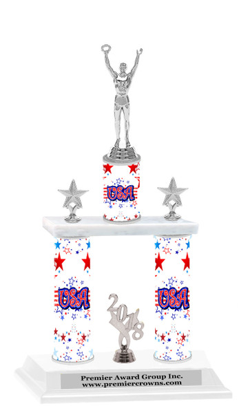 USA theme  2-Column trophy.  Numerous trophy heights available  with Silver  Male Victory figure