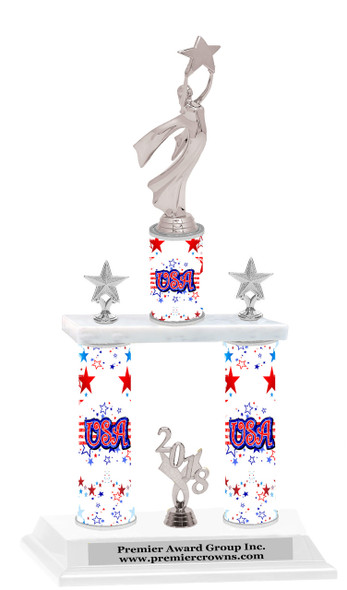 USA theme  2-Column trophy.  Numerous trophy heights available  with Silver  Modern  Victory figure
