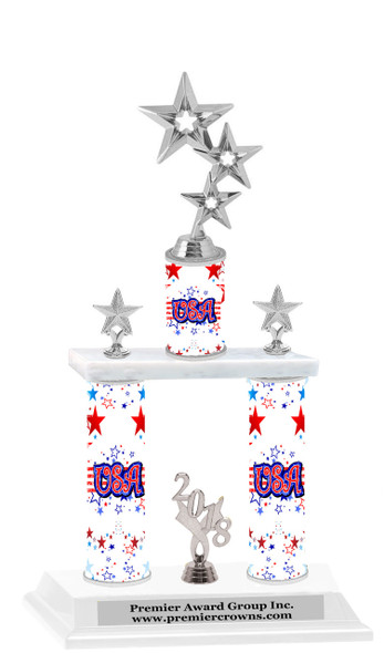 USA theme  2-Column trophy.  Numerous trophy heights available  with Silver  3-Stars figure