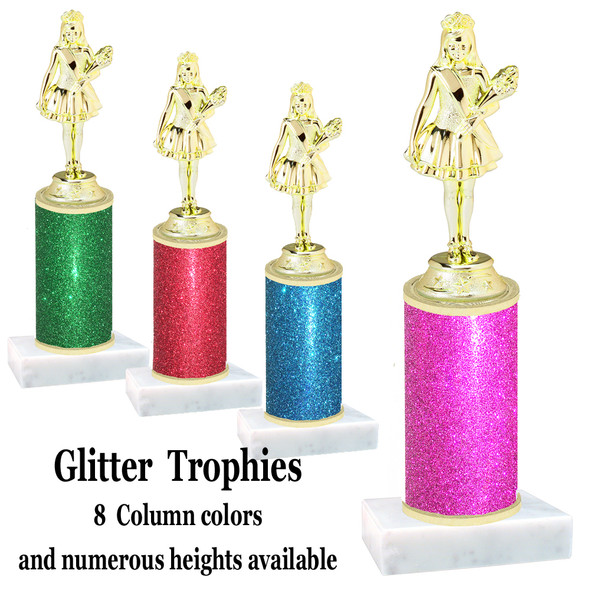 Glitter Column trophy with choice of glitter color, trophy height and base.  (Jr. Queen