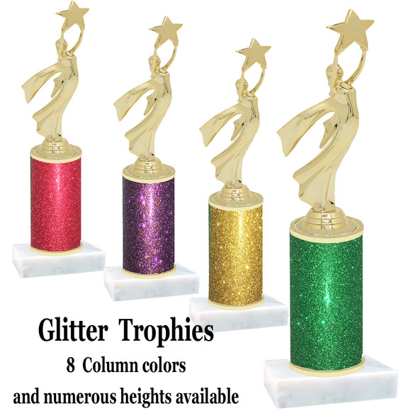 Glitter Column trophy with choice of glitter color, trophy height and base.  Modern Victory with Star