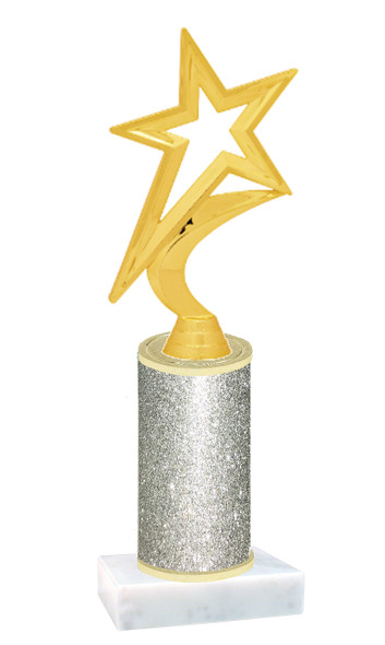 Glitter Column trophy with choice of glitter color, trophy height and base.  Star