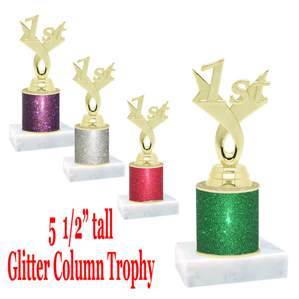 "Glitter Column trophy with choice of glitter color.  5  1/2""  tall - great for side awards, participation and more!  1st"