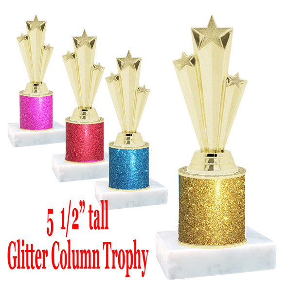 "Glitter Column trophy with choice of glitter color.  5  1/2""  tall - great for side awards, participation and more!  Gold 3-stars"