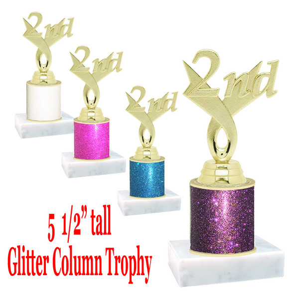 "Glitter Column trophy with choice of glitter color.  5  1/2""  tall - great for side awards, participation and more!  2nd"