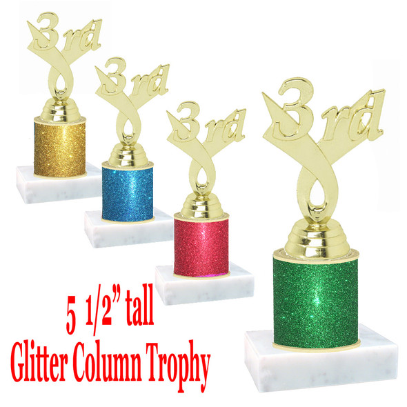 "Glitter Column trophy with choice of glitter color.  5  1/2""  tall - great for side awards, participation and more!  3rd"