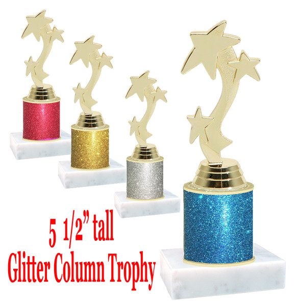 "Glitter Column trophy with choice of glitter color.  5  1/2""  tall - great for side awards, participation and more!  Ribbon Star"