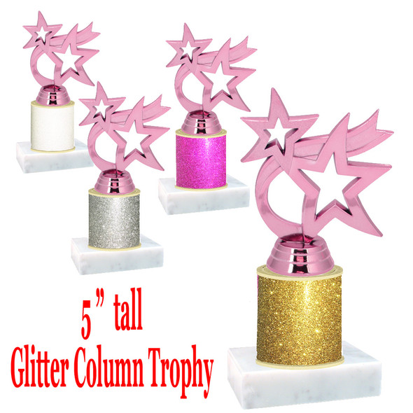 "Glitter Column trophy with choice of glitter color.  5 ""  tall - great for side awards, participation and more!  Pink Waving Star"