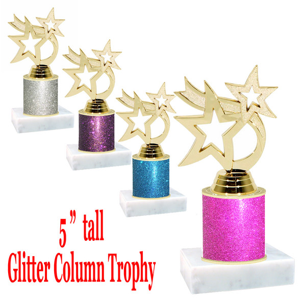 "Glitter Column trophy with choice of glitter color.  5 ""  tall - great for side awards, participation and more!  Gold Waving Star"