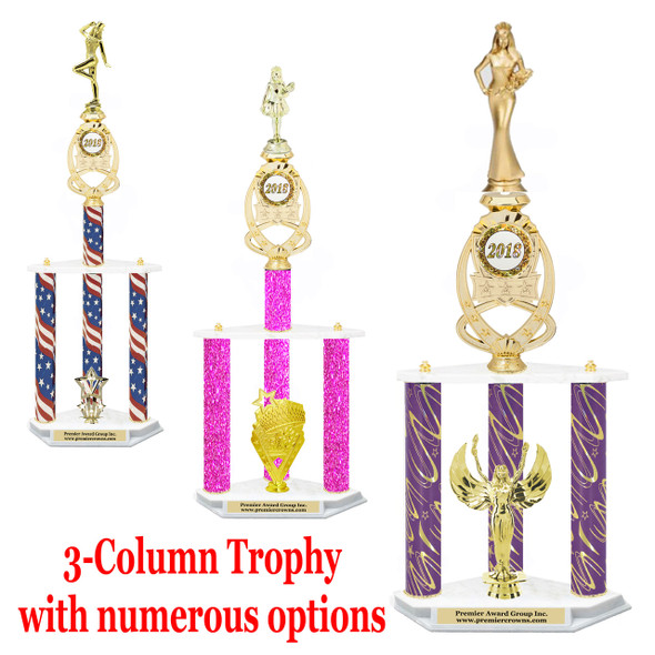 3-column trophy with riser insert.  Numerous options available.