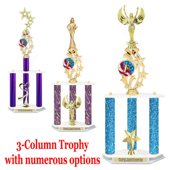 3-column trophy with riser insert.  Numerous options available.  (mr200)