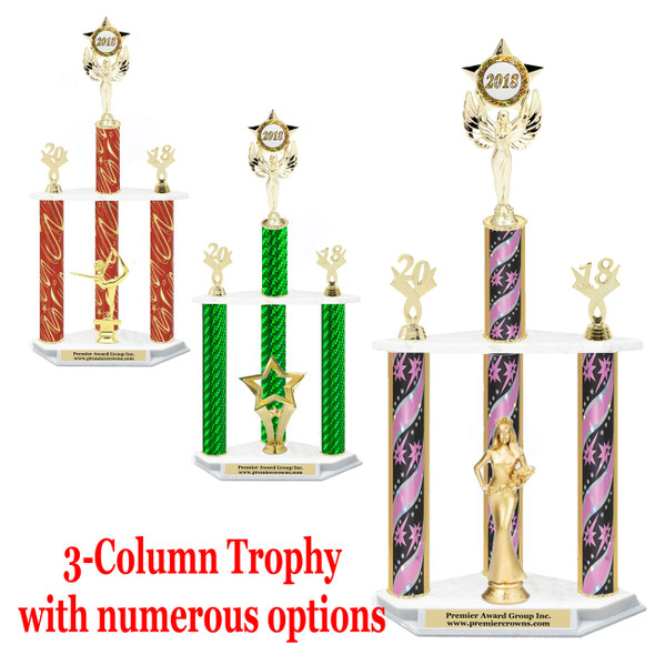 3-column trophy with star insert figure.  Numerous options available.