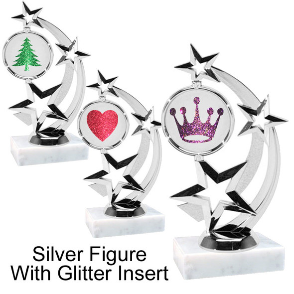 "6 "" tall Silver figure with glitter insert.  Choice of clip art and glitter color.  663s"