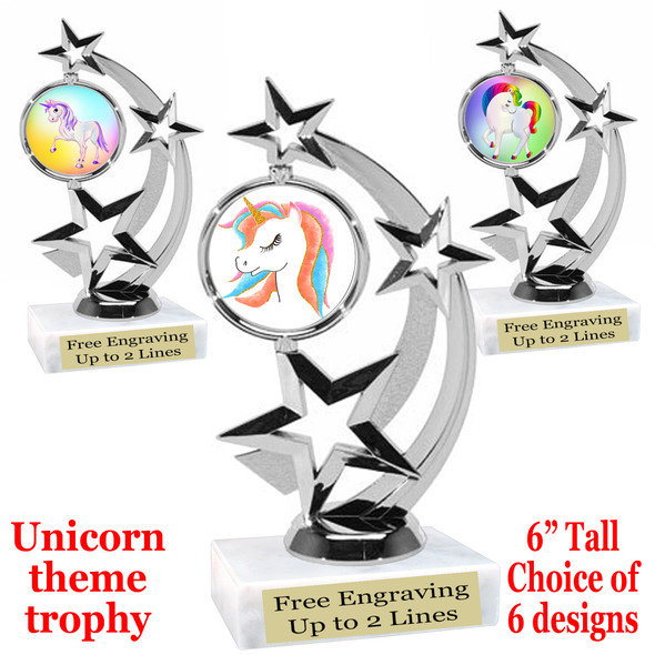 """UNICORN TROPHY WITH 6 DESIGNS AVAILABLE AND CHOICE OF BASE. 6"""" TALL (663s"""