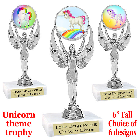 """UNICORN TROPHY WITH 6 DESIGNS AVAILABLE AND CHOICE OF BASE. 6"""" TALL.  6"""" tall  (6010"""