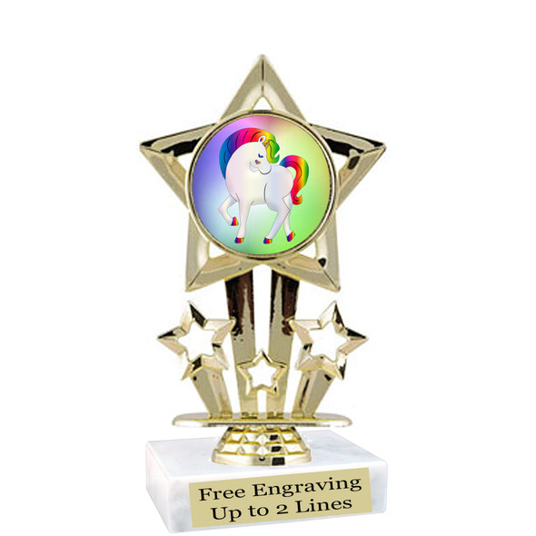 """UNICORN TROPHY WITH 6 DESIGNS AVAILABLE AND CHOICE OF BASE. 6"""" TALL (f767"""