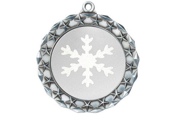 """Snowflake Medal with choice of snowflake glitter color.  2  3/4"""" diameter.  Great award for your winter - Christmas event.  Includes free engraving on back of medal and  neck ribbon.   (md40s"""