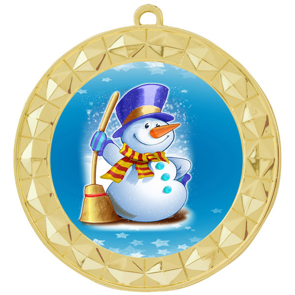 Snowman theme medal..  Includes free engraving and neck ribbon.   (935g