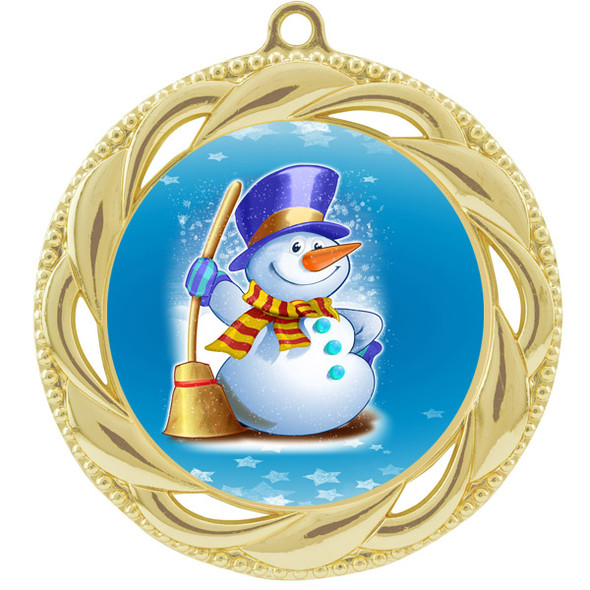 Snowman theme medal..  Includes free engraving and neck ribbon.   (938g