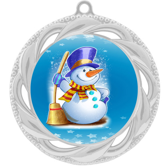 Snowman theme medal..  Includes free engraving and neck ribbon.   (938s