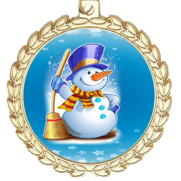 Snowman theme medal..  Includes free engraving and neck ribbon.   (m70