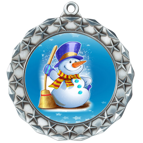 Snowman theme medal..  Includes free engraving and neck ribbon.   (md40s