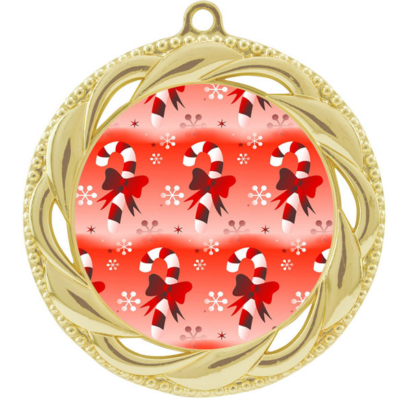 Candy Cane  theme medal..  Includes free engraving and neck ribbon.   938g