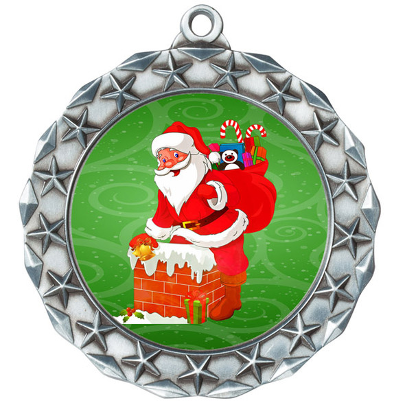 Santa  theme medal..  Includes free engraving and neck ribbon.   md40s