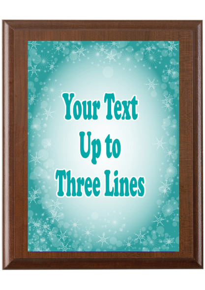 Christmas - Winter theme Custom Full Color Plaque.  Brown plaque with full color plate. 5 Plaques sizes available - Winter 001