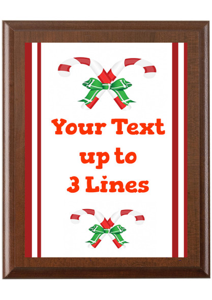 Christmas - Winter theme Custom Full Color Plaque.  Brown plaque with full color plate. 5 Plaques sizes available - Winter 002