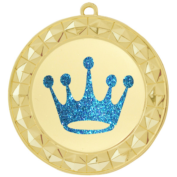 """Glitter Crown Medal.  2 3/4"""" diameter medal with choice of glitter color.  Includes free engraving and free neck ribbon   (935G)"""