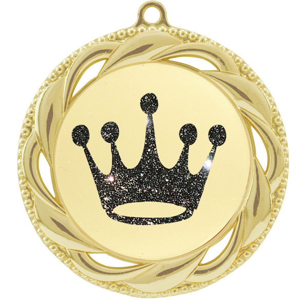 """Glitter Crown Medal.  2 3/4"""" diameter medal with choice of glitter color.  Includes free engraving and free neck ribbon   (9358g"""