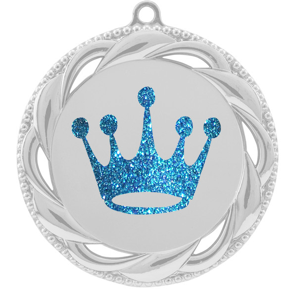 """Glitter Crown Medal.  2 3/4"""" diameter medal with choice of glitter color.  Includes free engraving and free neck ribbon   (938s"""