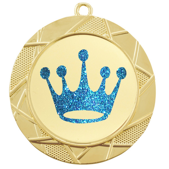 """Glitter Crown Medal.  2 3/4"""" diameter medal with choice of glitter color.  Includes free engraving and free neck ribbon   (940"""