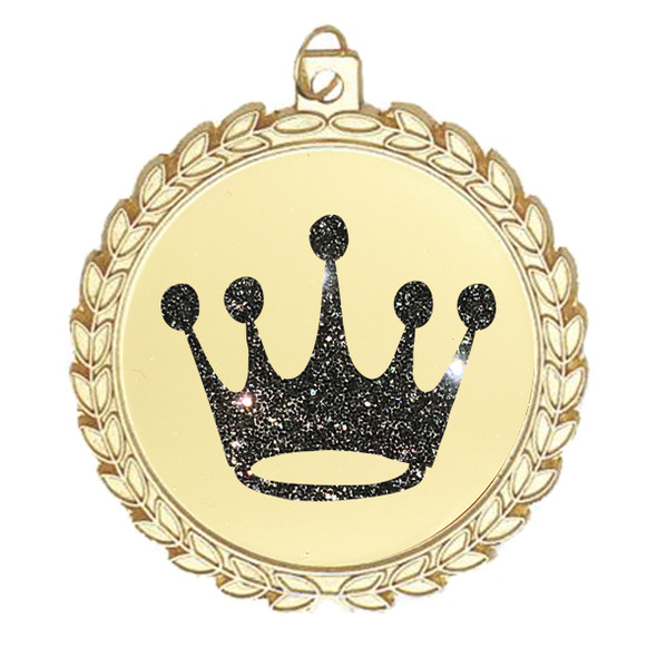 """Glitter Crown Medal.  2 3/4"""" diameter medal with choice of glitter color.  Includes free engraving and free neck ribbon   (m70"""