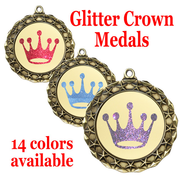 """Glitter Crown Medal.  2 3/4"""" diameter medal with choice of glitter color.  Includes free engraving and free neck ribbon   (md40g"""