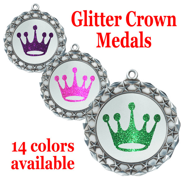 """Glitter Crown Medal.  2 3/4"""" diameter medal with choice of glitter color.  Includes free engraving and free neck ribbon   (md40s"""