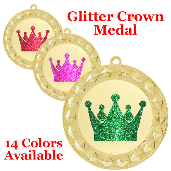 """Glitter Crown Medal.  2 3/4"""" diameter medal with choice of glitter color.  Includes free engraving and free neck ribbon.     2-935g"""