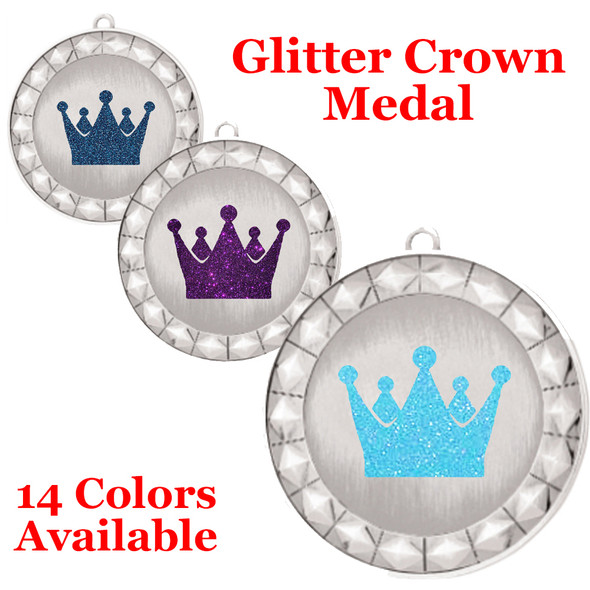 """Glitter Crown Medal.  2 3/4"""" diameter medal with choice of glitter color.  Includes free engraving and free neck ribbon.     2-935s"""