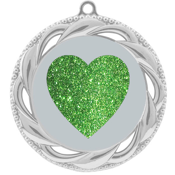 Glitter Heart Medal.  Includes free engraving and neck ribbon.   938s
