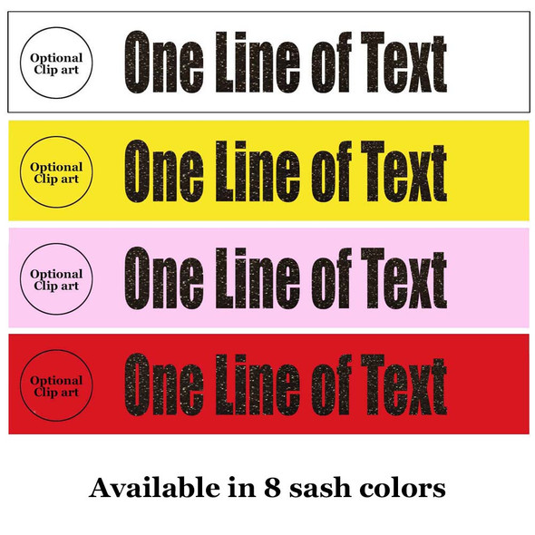 """Soft & Bold VINYL Letter Sash. HALF SASH.  36"""" or 42"""" long.  Numerous  sash colors, vinyl colors and choice of size . This is NOT a wrap around sash"""