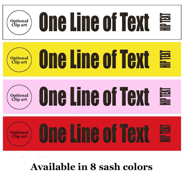 """Soft & Bold VINYL Letter Sash. HALF SASH.  36"""" or 42"""" long.  Numerous  sash colors, vinyl colors and choice of size . This is NOT a wrap around sash  (002"""