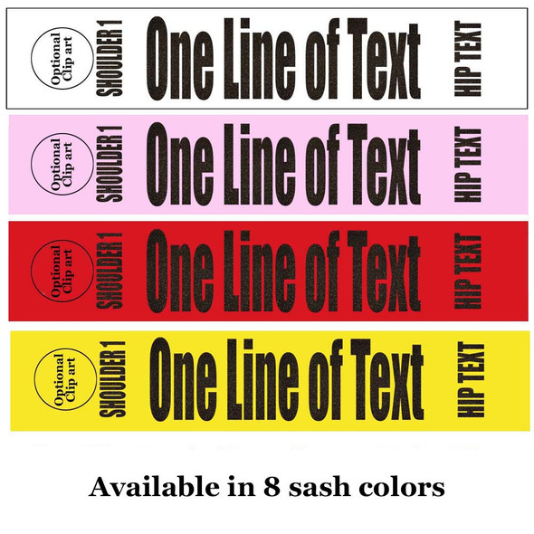 """Soft & Bold VINYL Letter Sash. HALF SASH.  36"""" or 42"""" long.  Numerous  sash colors, vinyl colors and choice of size . This is NOT a wrap around sash  (004"""