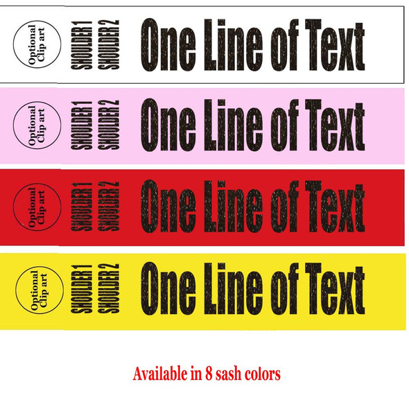 """Soft & Bold VINYL Letter Sash. HALF SASH.  36"""" or 42"""" long.  Numerous  sash colors, vinyl colors and choice of size . This is NOT a wrap around sash  (005"""