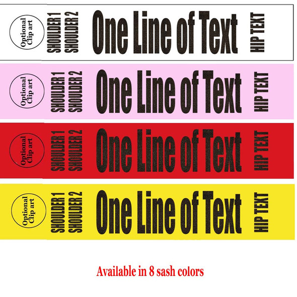 """Soft & Bold VINYL Letter Sash. HALF SASH.  36"""" or 42"""" long.  Numerous  sash colors, vinyl colors and choice of size . This is NOT a wrap around sash  (006"""