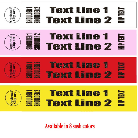 """Soft & Bold VINYL Letter Sash. HALF SASH.  36"""" or 42"""" long.  Numerous  sash colors, vinyl colors and choice of size . This is NOT a wrap around sash.  Two Lines.  (half-006"""