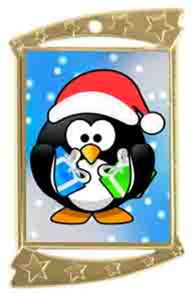 Rectangle Medal with Holiday - Winter theme art work.  Choice of gold or silver finish.  Includes free text on back  and neck ribbon.  (927 penguin