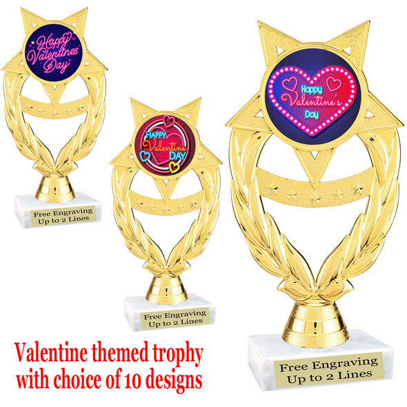 """Valentine's theme trophy with choice of design.  Gold 6"""" trophy.  ph97"""