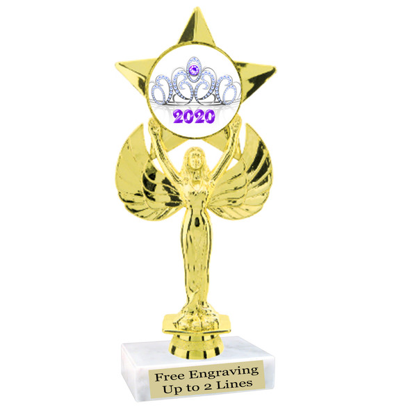 """NEW!  7  1/2""""  trophy with  colorful insert.  Includes choice of base and free engraved name plate.  (002"""